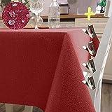 Iycnkok Mantel Antimanchas Rectangular Manteles Mesa Impermeable Tela 140x300 cm Lavable Efecto Lino Rojo, 4 Pinzas Incluidas, Table Cloth Elegante para Comedor Exterior Cocina Jardin Navidad Fiesta