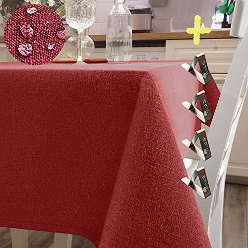 Iycnkok Mantel Antimanchas Rectangular Manteles Mesa Impermeable Tela 140x180 cm Lavable Efecto Lino Rojo, 4 Pinzas Incluidas, Table Cloth Elegante para Comedor Exterior Cocina Jardin Navidad Fiesta