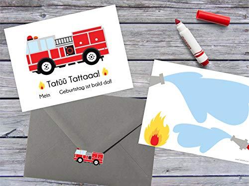 """Cartissimi 6 Schlichte Einladungskarten aus der Serie """"Fred Feuerwehrmann mit 6 Grauen Briefumschlägen und Aufklebern für Feuerwehr-Kindergeburtstage"""