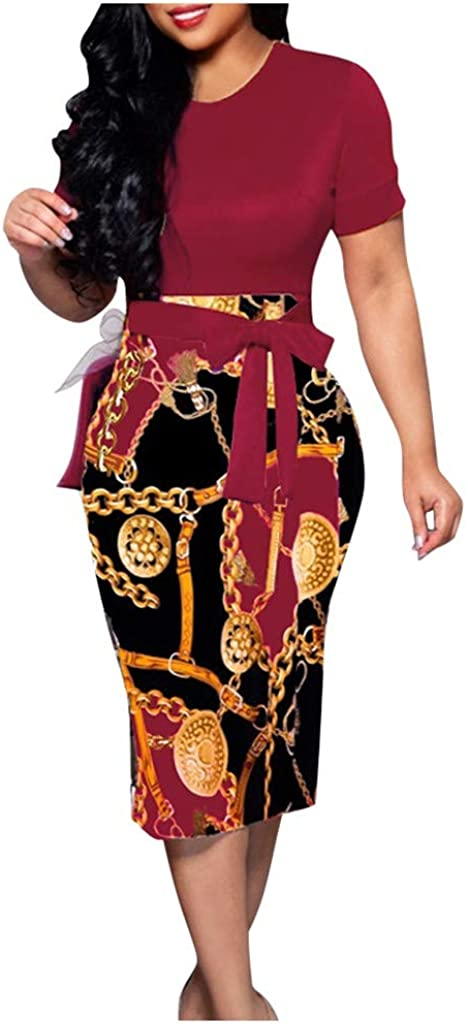 HDGTSA Women Fashion Elegant Bodycon Dress Midi Nightclub Short Sleeve Pencil Dresses