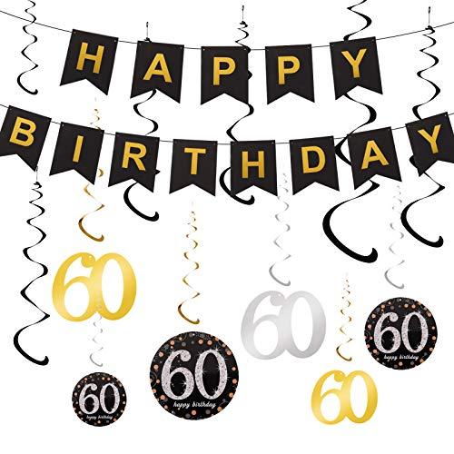 adakel 60. Geburtstag Dekoration, Happy Birthday Banner und 60. Geburtstag Swirl Folienspiralen Deckenhänger für 60. Geburtstag Party Dekoration Zubehör