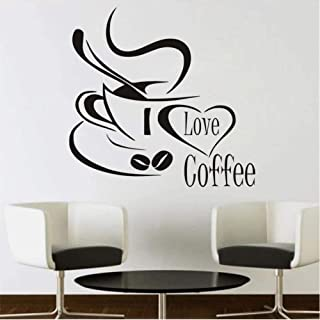 MRQXDP I Love Coffee Wall Sticker Coffee Cup PVC Removable Wallpaper Kitchen Vinyl Wall Decals Home Decor 44x42cm Wandaufkleber Wand Dormitory Wall