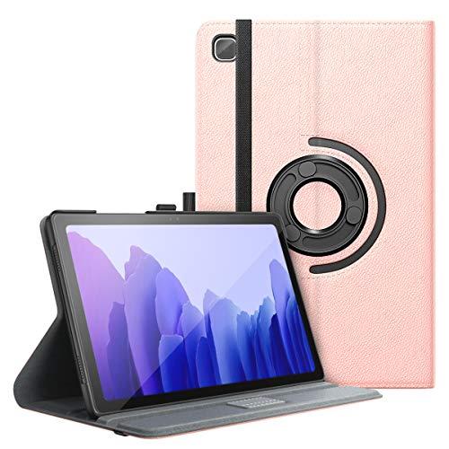 MoKo Funda Compatible con Samsung Galaxy Tab A7 10.4 Inch 2020 Model (SM-T500/505/507), Funda Giratoria Ajustable de 90°de Soporte Automático y Función de Auto Activación/Reposo, Oro Rosa