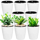 8 Pack Plastic Self Watering Planter 4 Inch White Flower Plant Pot...