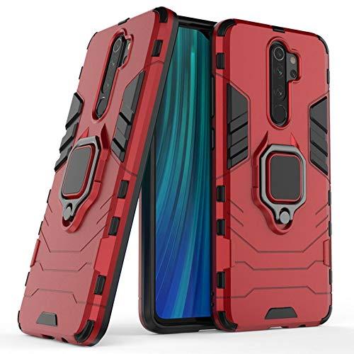 COOVY® Funda para Xiaomi Redmi Note 8 Pro de plástico y Silicona TPU, extrafuerte, Anti Choque, Funda con función Atril + Soporte magnético | Rojo