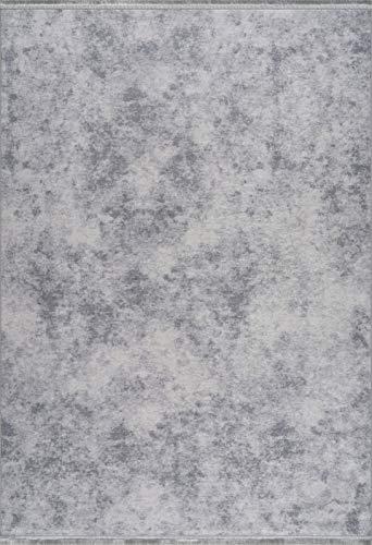 Siela Teppich Waschbar und Küchenläufer Pflegeleicht Versch. Muster und Größen Wohnzimmerteppich Grau(80x150cm)