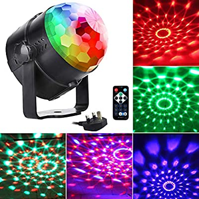 Disco Lights Disco Ball U'king, Remote Control DJ Lights 3W 7 Colours Strobe Light Sound Activated Party Lights For Xmas Party Pub Wedding Club Show (1 Pack)