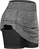 BLEVONH Mini Skirt,Ladies Slim Fit A-Line Tight Skirts Miss Cute Stretchy Waistband Pickleball Skort Juniors Spandex Athletic Tennis Skorts with Shorts Dressy Skirted Swim Bottoms for Women Gray M