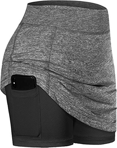 BLEVONH A-Line Skirt,Women Elastic Wide Waistband Tennis Skirts Girls Stylish Tight Functional Running Workout Skort Ladies Anytime Casual Golf Skorts (Grey, Large)