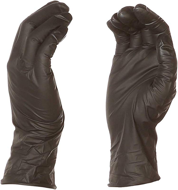 AmazonBasics Powder Free Disposable Nitrile Gloves 6 Mil Black Size L 100 Per Pack 1 Pack