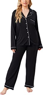 Plus Size Long Pajamas for Women Two-Piece Sleepwear...