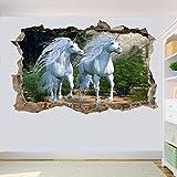 Pegatinas de pared, pegatinas de pared de bosque de fantasía, mural artístico en 3D, decoración del hogar