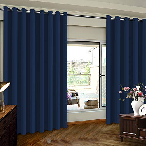Blackout Curtain for Sliding Door - Patio Door Curtains, Thermal Insulated Extra Wide Curtain Sliding Door Drapes/Draperies Outside Curtain for Patio & Hall Room 100 x 84 Inch One Panel Navy