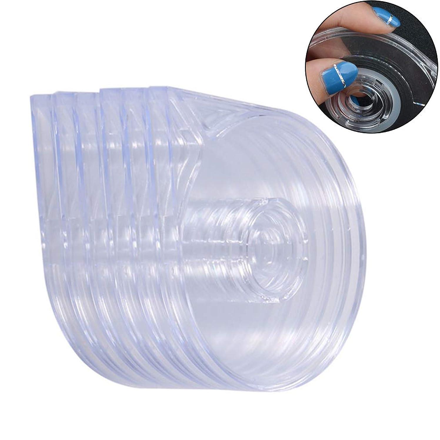 準備した縫う悪いslQinjiansav ネイルアート&ツール収納コンテナ6個/セット透明ネイルアートテープラインケースストライプステッカーボックス収納ホルダー