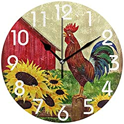 Naanle Farm Crowing Rooster Sunflowers Round Wall Clock, 9.5 Inch Battery Operated Quartz Analog Quiet Desk Clock for Home,Kitchen,Office,School,Bathroom