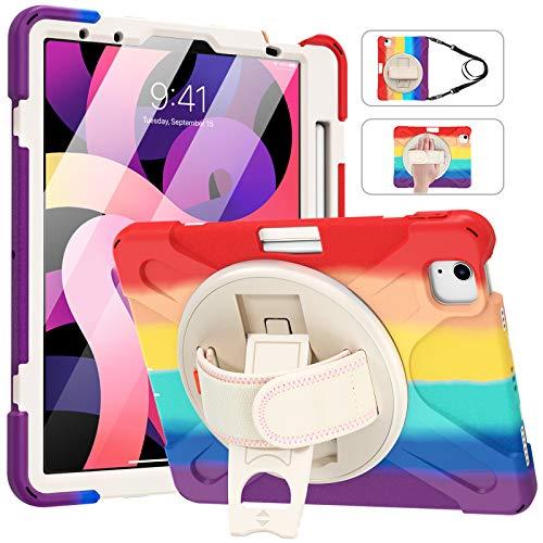 MoKo Funda Compatible con iPad Air 4ta Generación 2020 10.9' Tableta, Protectora Cubierta con Soporte de Rotación de 360 Grados, Correa de Mano/Hombro, Soporte de Pencil, Multicolor A