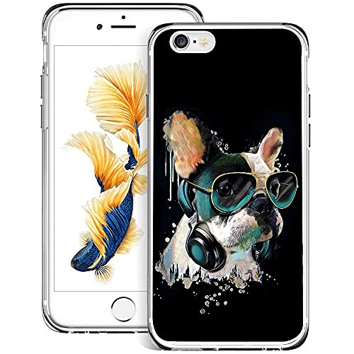 iPhone 6s 6 Clear Phone Case French-Bulldog Soft Transparent UV Bumper,Rubber Flexible Durable Shockproof Anti-Scratch Cover for iPhone 6s 6-French-Bulldog