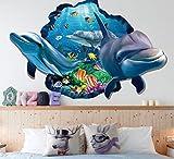 HALLOBO XXL Wandtattoo Wandaufkleber 3D Fenster Delphin Unterwasserwelt Delfine Marine Meer Wandbild Wohnzimmer Schlafzimmer Kinderzimmer Deko Badzimmer