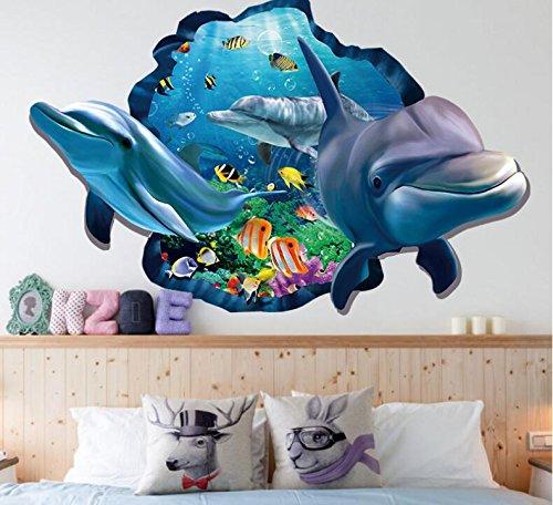 HALLOBO® XXL Wandtattoo Wandaufkleber 3D Fenster Delphin Unterwasserwelt Delfine Marine Meer Wandbild Wohnzimmer Schlafzimmer Kinderzimmer Deko Badzimmer