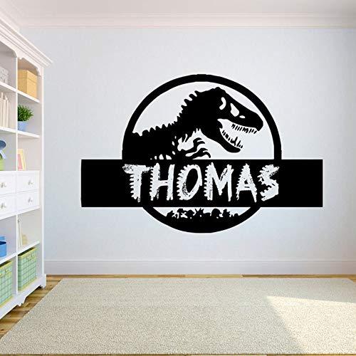 mlpnko Nombre Personalizado Dinosaurios Pegatinas de Pared Habitación para niños Gran Cuento de Hadas Animal Dragón Dinosaurio Tatuajes de Pared Dormitorio Vinilo Decoración para el hogar, 57x86cm