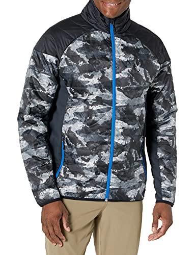 Spyder Men's Glissade Full Zip Primaloft Insulator Jacket, Camo Distress Print/Black/Turkish Sea, Large