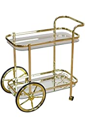 Made Steel Rod Features 2 Large 2 Small Wheels Bottle Holders dCOR design Classy Deluxe Serving Trolley