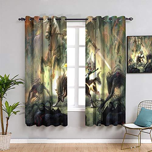 Elliot Dorothy Cortinas opacas The Legend of Zelda Breath of the Wild con ojales para oscurecimiento de habitación, cortinas anchas de 63 x 72 cm