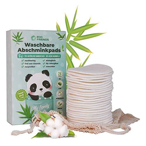 Eco Friends, 24 waschbare Abschminkpads, 3-lagig in Premium Qualität