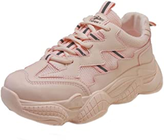 BeiaMina Women Soft Sports Shoes Lace Up Thick Bottom