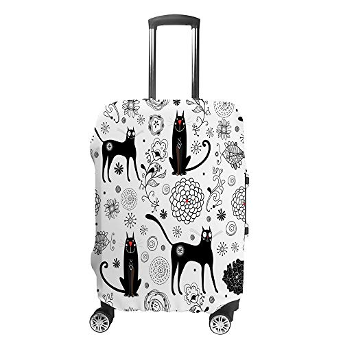 Luggage Cover Travel Anti-Scratch Suitcase Cover Baggage Protector Case Black Cats Fit Washable Accessories Dustproof L