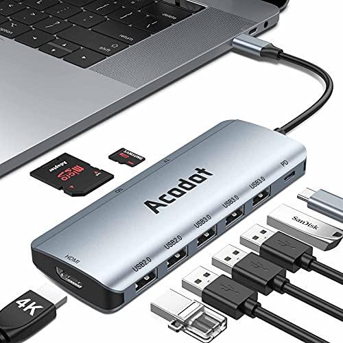 USB C Hub für MacBook, 9-in-1 USB-C HUB Multiport Adapter mit 5 USB 3.1 Gen 1 / 2.0, Thunderbolt 3 OTG Hub USB C Adapter, PD 100W, 4K HDMI,SD/TF Kartenles für MacBook Pro/Air, iPad Pro,Surface Go, XPS