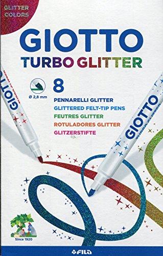 Giotto Turbo Glitter astuccio da 8 pennarelli con inchiostro glitterato, Modelli/Colori Assortiti, 1 Pezzo