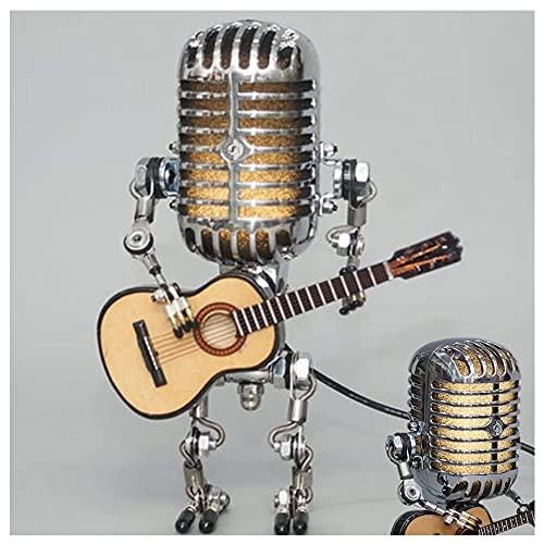 CGDX Vintage Mikrofon-Roboter-Lampe, Roboter-Touch-Dimmer-Lampe mit USB, Metallkunst-Nachtlicht-Roboter, Roboter-Schreibtischlampe mit Gitarre für Büro-Wohnzimmer, Raumdekoration (mit Licht)