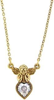 Vatican Library Collection Gold Tone and Crystal Angel Heart Necklace