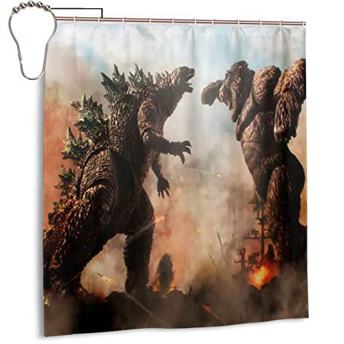 Godz-Illa Vs. Kin-G K-Ong Shower Curtain with Hook Painted Curtains Waterproof Decorative Bathroom Gardenshower Curtain 66x72 in
