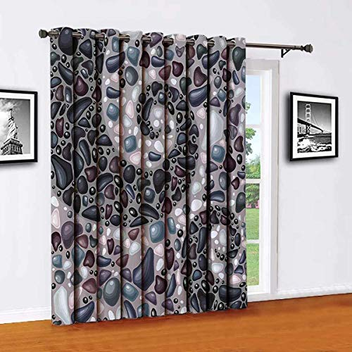 Toopeek Nature Living room sliding door curtain Garden Mountains Volcanic Stones Image of Pebbles on Cement Print Office single panel W84 x L96 Inch Slate Blue Black and Dimgrey