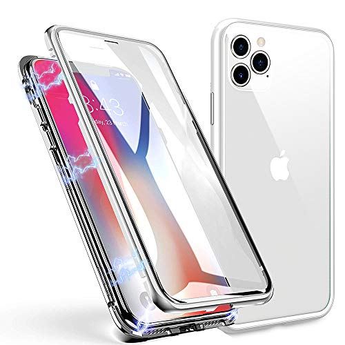 CXDcity iPhone 11 Pro Max Case, Magnetic Adsorption Clear Tempered Glass Slim Metal Frame Screen Protector Full Body Case for Apple iPhone 11 Pro Max 6.5' 2020