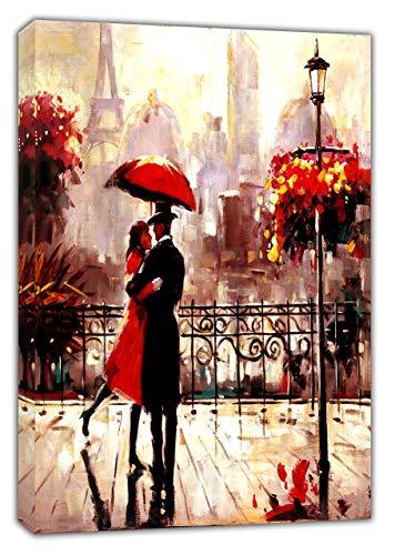 Afdrukken op canvas koppel met rode paraplu onder regen in Parijs verticaal olieverfschilderij canvas foto kunst aan de muur woondecoratie 40x50cm (15,7x19,7 inch) geen frame