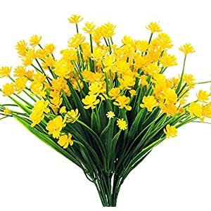 AngleLife Artificial Fake Flowers,4pcs Faux Yellow Daffodils Greenery Shrubs Plant Indoor Outside Hanging Plastic Planter Home Garden Wedding Decor