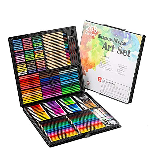 ILYO Children's Drawing Set, 258-Piece Drawing Set, PVC Watercolor Pen, Color Pencil Set, Strong Coloring Power, Color Saturation, Beautiful Child's Best Gift