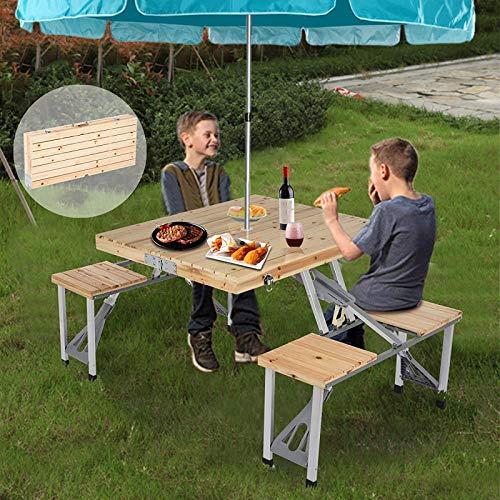 ZHANGLE Mesa de Picnic Plegable al Aire Libre, con sillas de 4 Asientos y Orificio para sombrilla Mesa de Madera compacta para Acampar, con Maleta Mesa de Barbacoa para Patio, Barbacoa de jardín