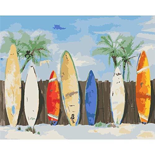 Amrzxz DIY-Tabla de Surf de Color Kit de Bricolaje para Pintura al óleo sobre Lienzo preimpreso con números a Seguir; para Decorar la casa y Pintar Adultos y niños(sin Marco) 30x40cm
