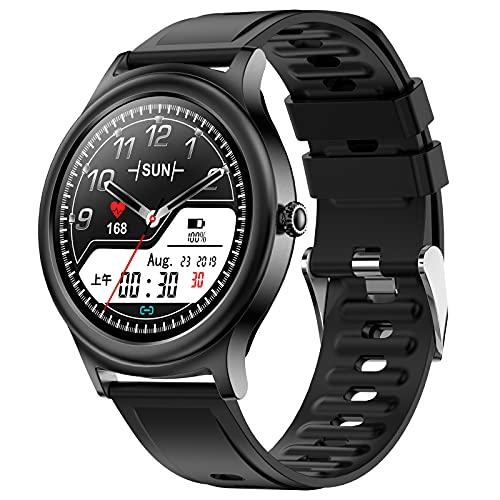 HQPCAHL Smartwatch, Reloj Inteligente Impermeable con Monitor de Frecuencia Cardíaca, Monitor de Sueño, Podómetro de Seguimiento de Actividad Física con Pantalla Táctil para Android iOS,Negro