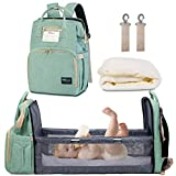 Happy Luoka Diaper Bag with Bassinet, Diaper Backpack Nappy Bag with Bed Cyan...