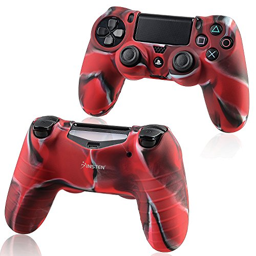 For PS4 Controller Silicone Skin Case Cover, Insten Rubber Silicone Protective Skin Case Cover Compatible With Sony PlayStation 4 PS4 Controller, Camouflage Navy Red