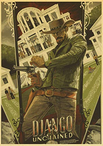 Weijiajia Film Classico Quentin Tarantino Film Django Unchained Retro Vintage Poster Wall Decor for Home Bar Cafe 50x70cm (19.68x27.55 in) F-1655
