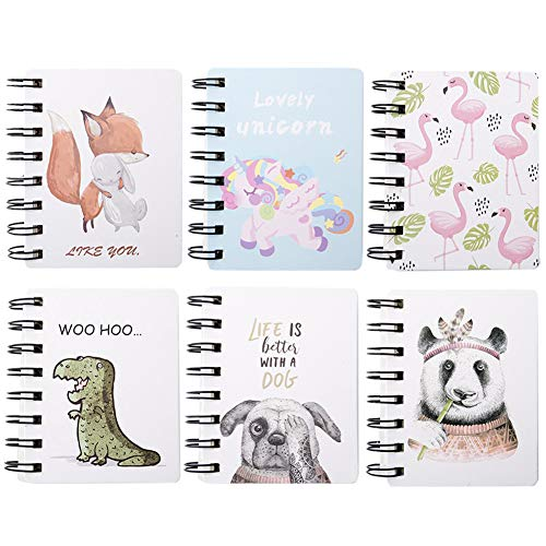 Yuccer Mini Taccuino Bambini Notebook Tascabile Quaderno appunti Quaderni Spirale per Studenti Scolastici Confezione da 6 (Rosa)