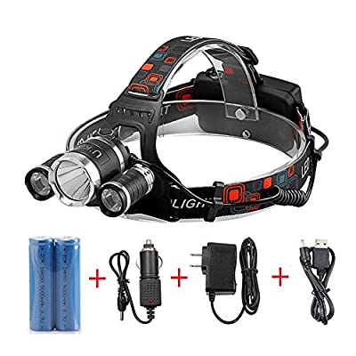Rechargeable Headlamp, 5000 Lumen Powerful Waterproof LED Headlights Helmet Light with Batteries Car Wall Chargers Great for Night Camping Hiking Hunting Fishing Club Headlamps by U`King