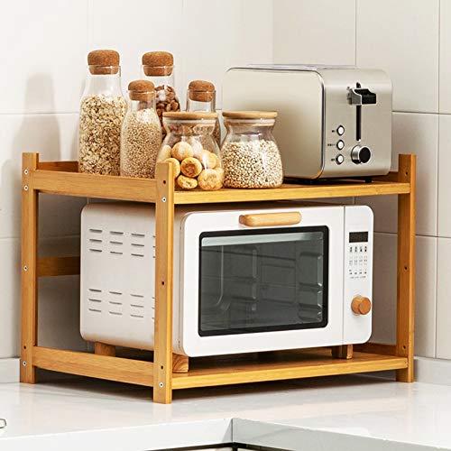 Küchenregale, Gewürzboxen oder Flaschen aufbewahren Natürliche Bambus-Mikrowellenregale, umweltfreundlich für Wohnheimküchen