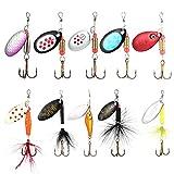 10 señuelos de pesca, cucharas de pesca, cebo flexible para spinnerbait, accesorios de pesca giratorios para lucio, perca y trucha.